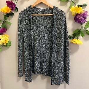 Charlotte Russe Black/ White Open Front Cardigan